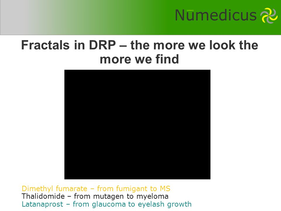 Fractals in DRP – the more we look the more we find Dimethyl fumarate – from fumigant to MS Thalidomide – from mutagen to myeloma Latanaprost – from glaucoma to eyelash growth