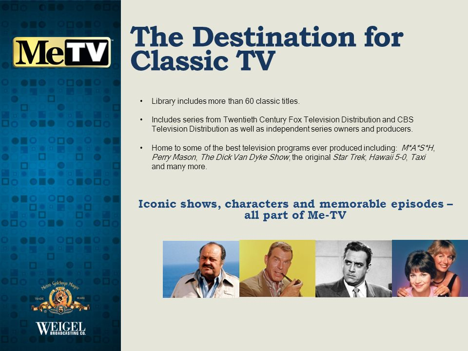 Iconic shows, characters and memorable episodes – all part of Me-TV The Destination for Classic TV Library includes more than 60 classic titles.