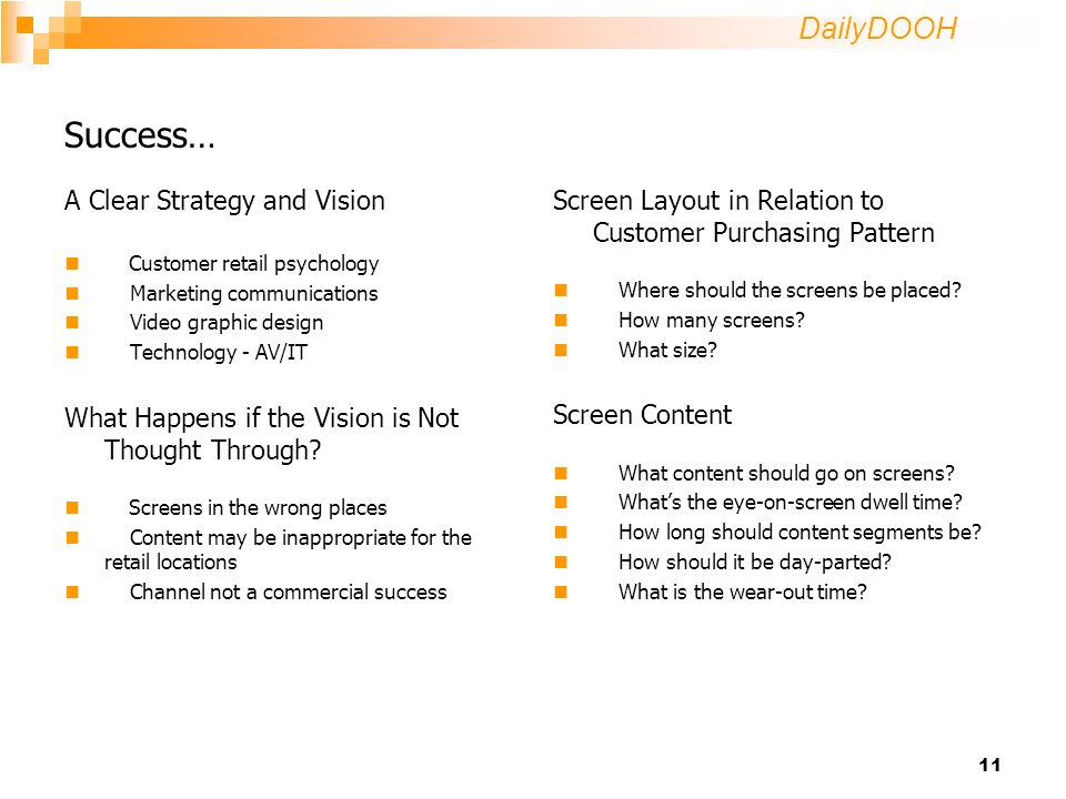 DailyDOOH 11 Success… A Clear Strategy and Vision Customer retail psychology Marketing communications Video graphic design Technology - AV/IT What Happens if the Vision is Not Thought Through.