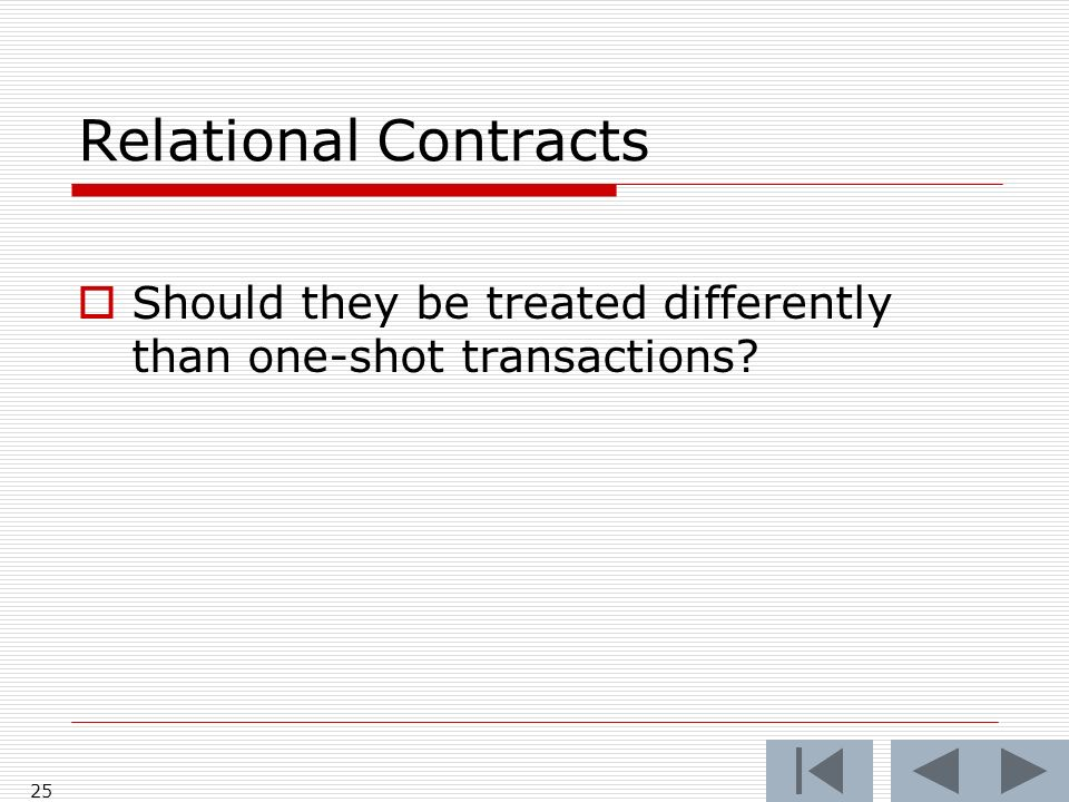 Relational Contracts Should they be treated differently than one-shot transactions 25