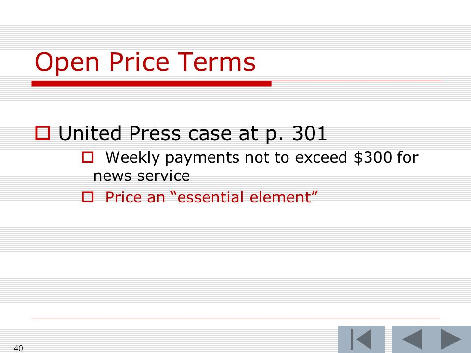 Open Price Terms United Press case at p.