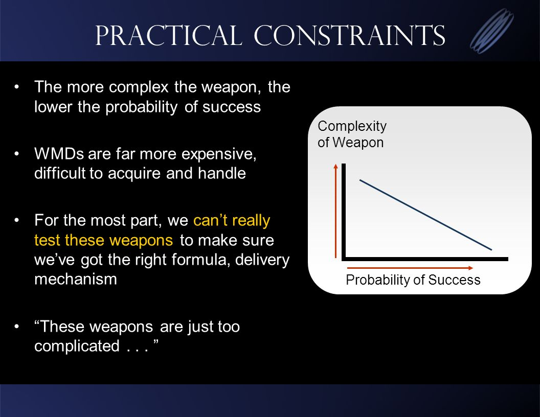 Practical Constraints The more complex the weapon, the lower the probability of success WMDs are far more expensive, difficult to acquire and handle For the most part, we cant really test these weapons to make sure weve got the right formula, delivery mechanism These weapons are just too complicated...