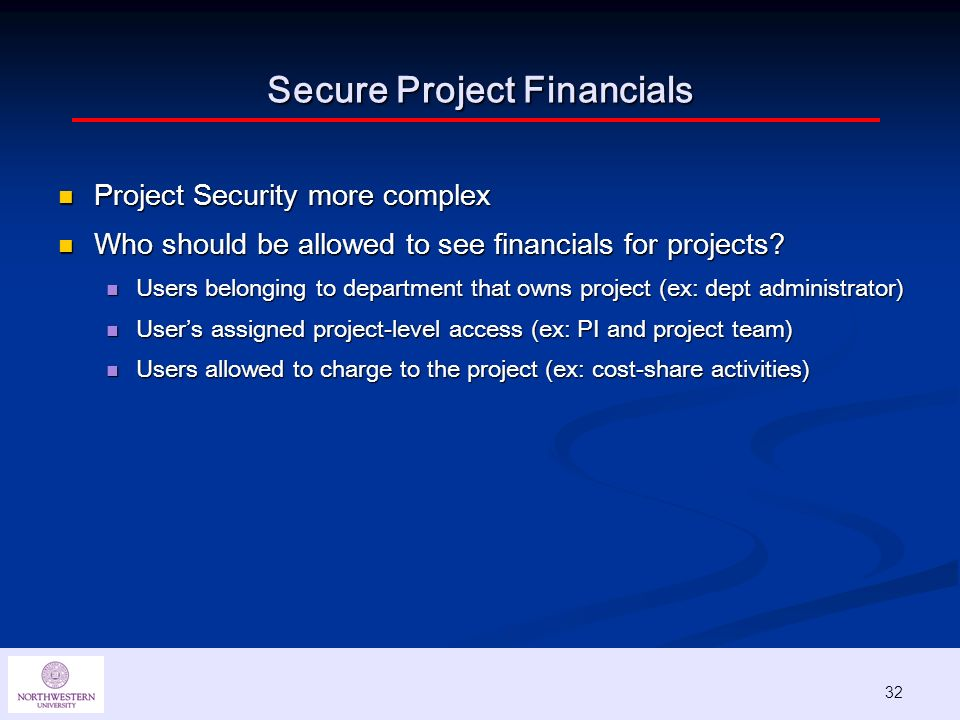 32 Secure Project Financials Project Security more complex Project Security more complex Who should be allowed to see financials for projects.