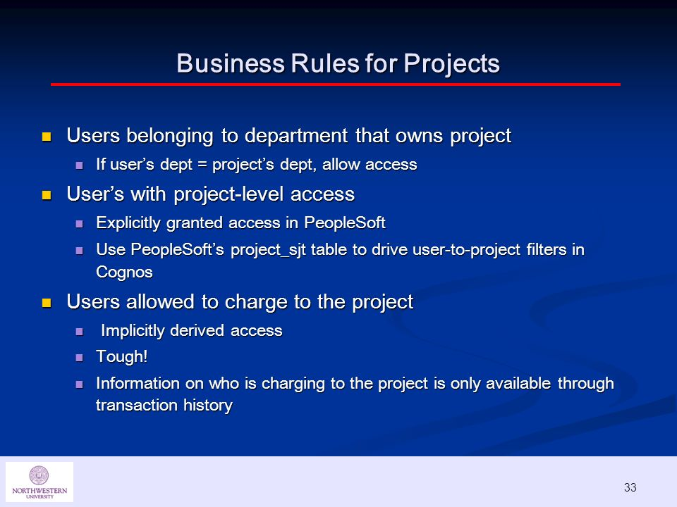 33 Business Rules for Projects Users belonging to department that owns project Users belonging to department that owns project If users dept = projects dept, allow access If users dept = projects dept, allow access Users with project-level access Users with project-level access Explicitly granted access in PeopleSoft Explicitly granted access in PeopleSoft Use PeopleSofts project_sjt table to drive user-to-project filters in Cognos Use PeopleSofts project_sjt table to drive user-to-project filters in Cognos Users allowed to charge to the project Users allowed to charge to the project Implicitly derived access Implicitly derived access Tough.