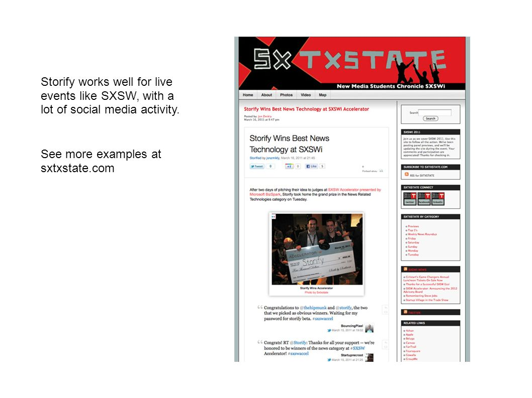 See more examples at sxtxstate.com Storify works well for live events like SXSW, with a lot of social media activity.