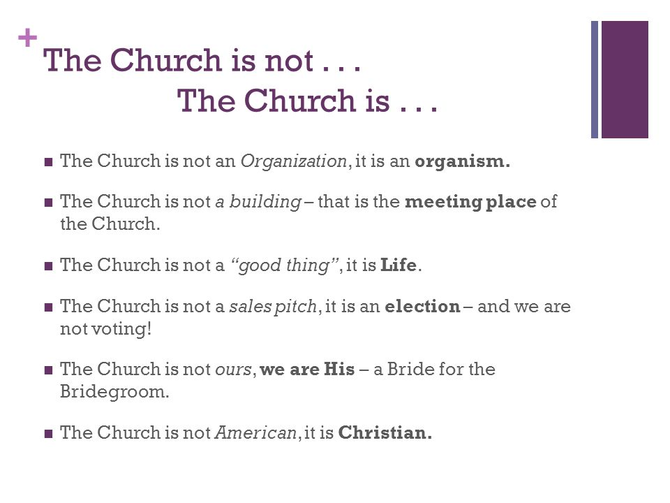 + The Church is not... The Church is... The Church is not an Organization, it is an organism.