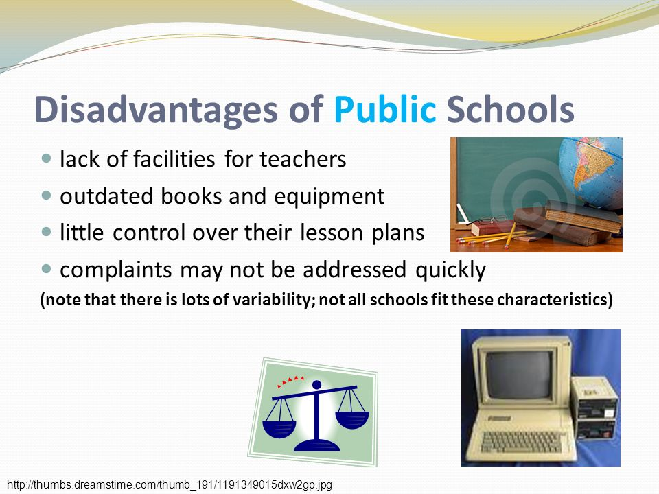 Disadvantages of Public Schools lack of facilities for teachers outdated books and equipment little control over their lesson plans complaints may not be addressed quickly (note that there is lots of variability; not all schools fit these characteristics)