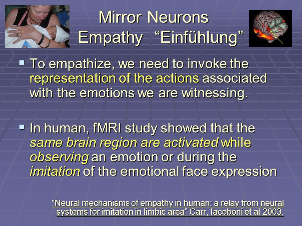 Mirror Neurons EmpathyEinfühlung To empathize, we need to invoke the representation of the actions associated with the emotions we are witnessing.