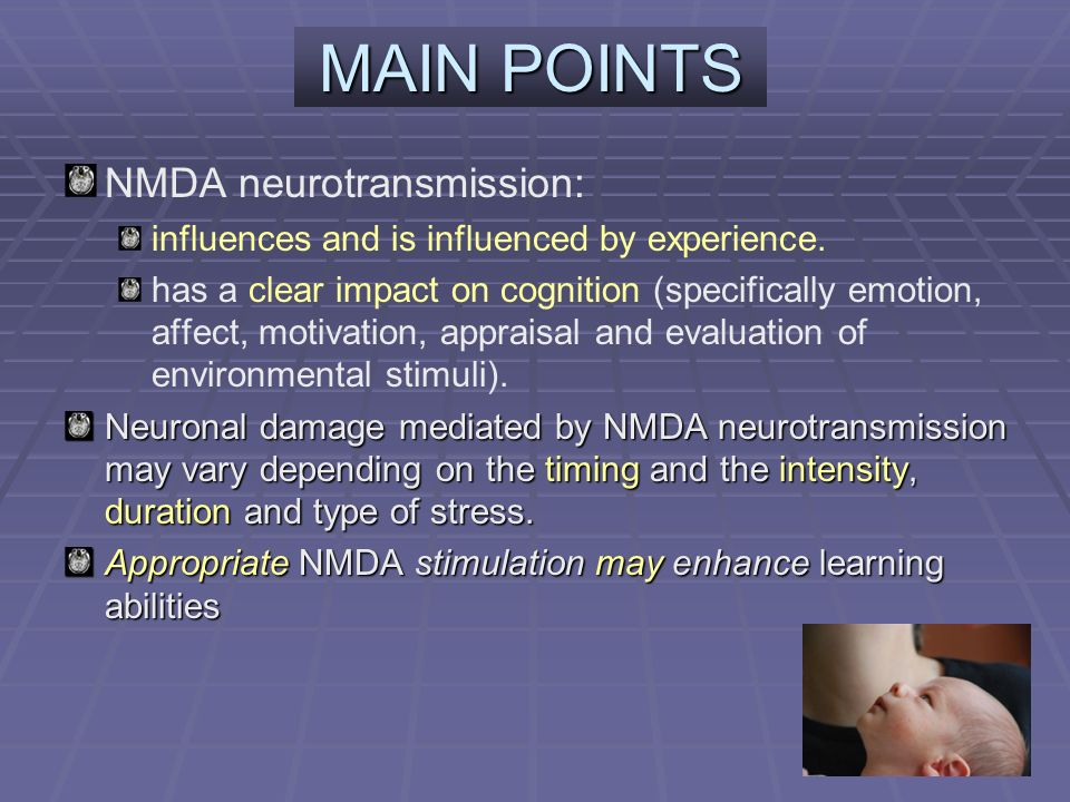 MAIN POINTS NMDA neurotransmission: influences and is influenced by experience.