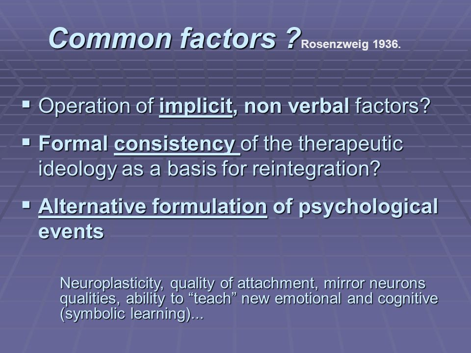 Common factors . Common factors . Rosenzweig 1936.