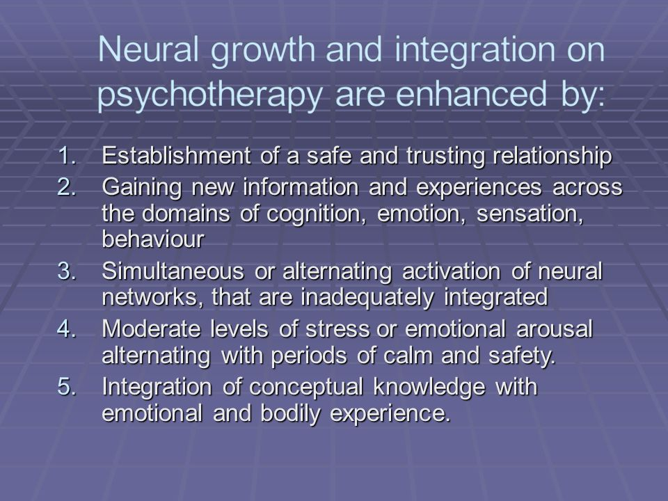 1.Establishment of a safe and trusting relationship 2.Gaining new information and experiences across the domains of cognition, emotion, sensation, behaviour 3.Simultaneous or alternating activation of neural networks, that are inadequately integrated 4.Moderate levels of stress or emotional arousal alternating with periods of calm and safety.