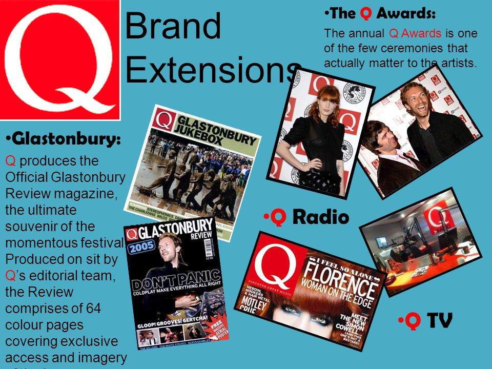 Brand Extensions Glastonbury: Q produces the Official Glastonbury Review magazine, the ultimate souvenir of the momentous festival.