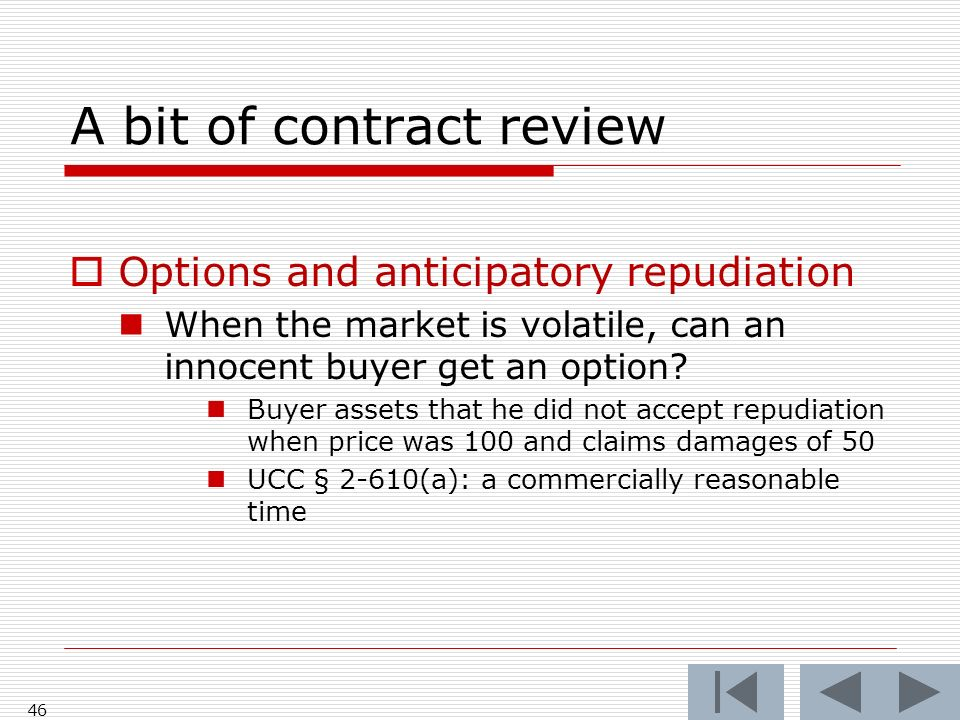 A bit of contract review Options and anticipatory repudiation When the market is volatile, can an innocent buyer get an option.
