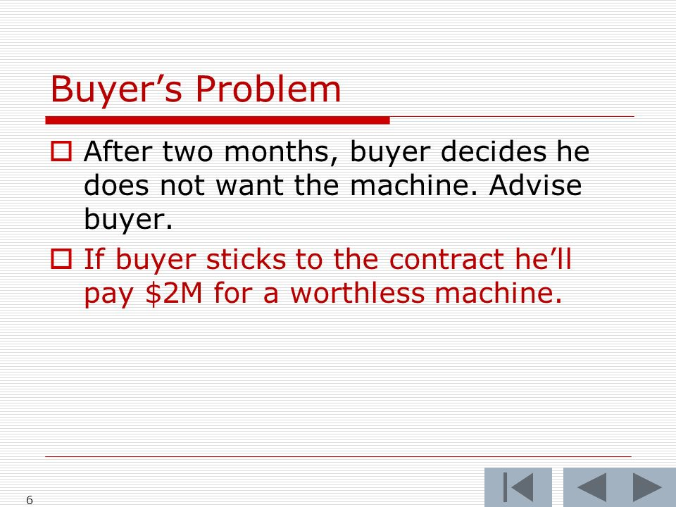 Buyers Problem After two months, buyer decides he does not want the machine.