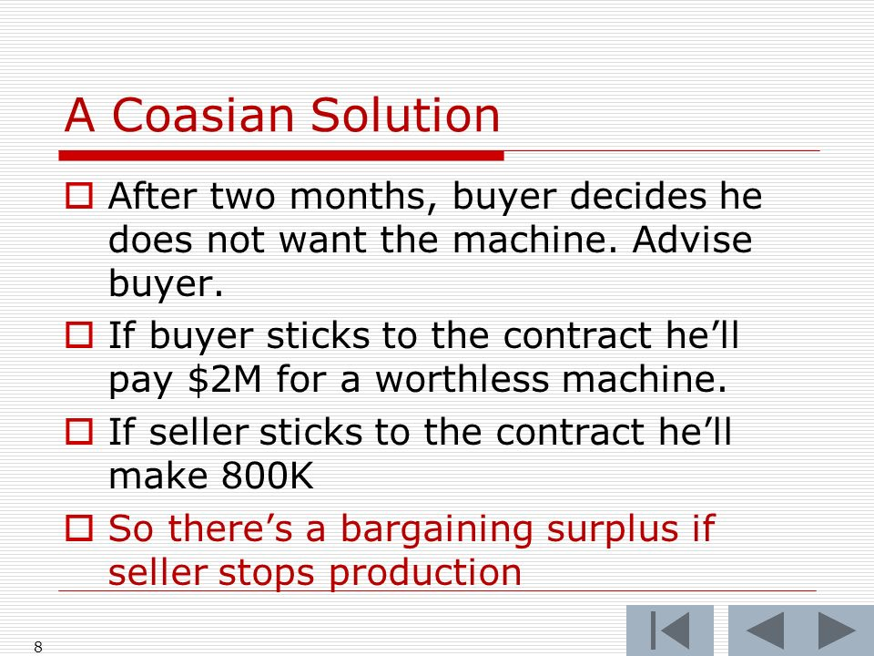 A Coasian Solution After two months, buyer decides he does not want the machine.