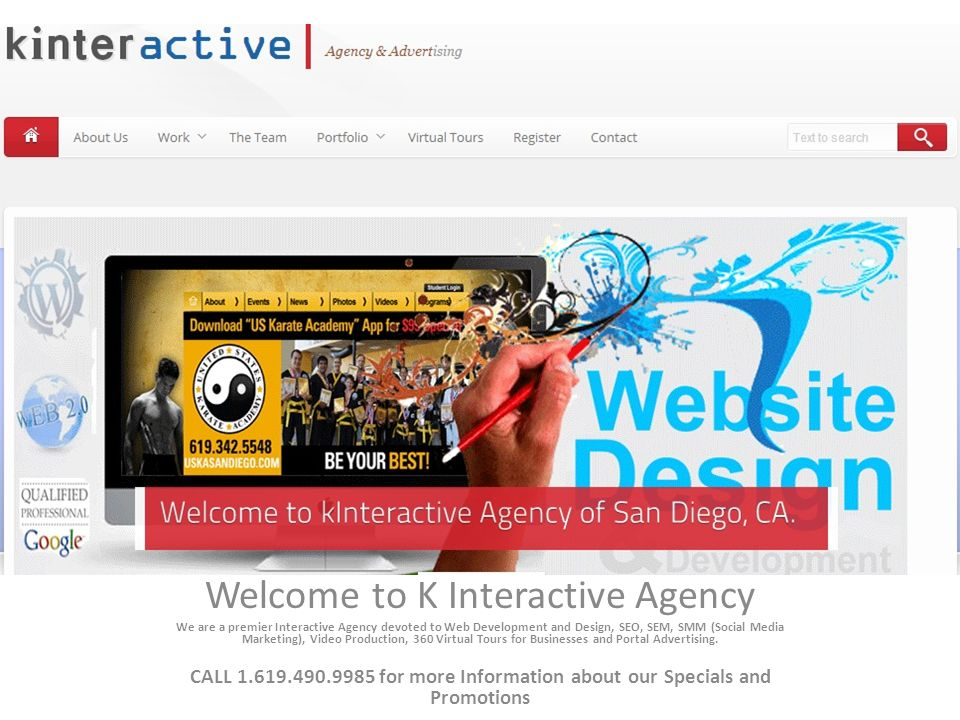 Welcome to K Interactive Agency We are a premier Interactive Agency devoted to Web Development and Design, SEO, SEM, SMM (Social Media Marketing), Video Production, 360 Virtual Tours for Businesses and Portal Advertising.