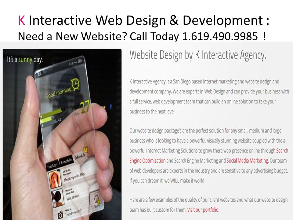 K Interactive Web Design & Development : Need a New Website Call Today 1.619.490.9985 !