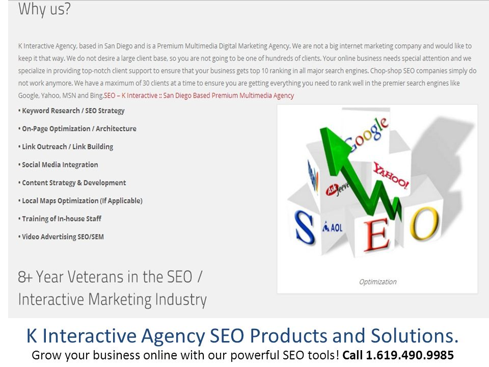 K Interactive Agency SEO Products and Solutions.