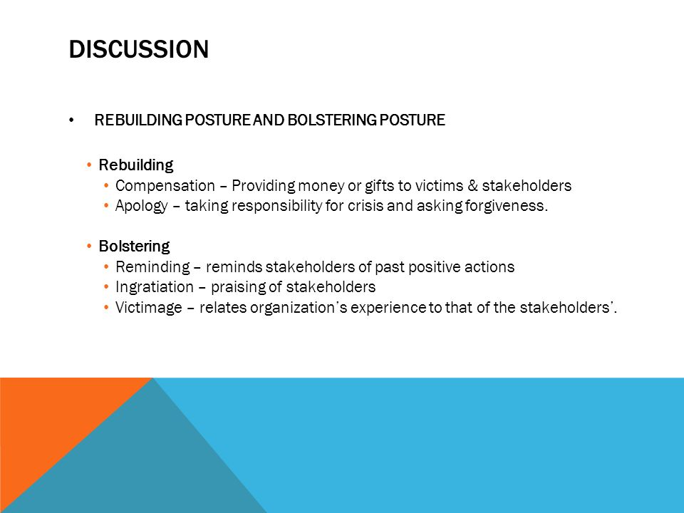 DISCUSSION REBUILDING POSTURE AND BOLSTERING POSTURE Rebuilding Compensation – Providing money or gifts to victims & stakeholders Apology – taking responsibility for crisis and asking forgiveness.