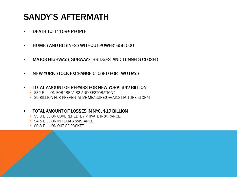 SANDYS AFTERMATH DEATH TOLL: 108+ PEOPLE HOMES AND BUSINESS WITHOUT POWER: 656,000 MAJOR HIGHWAYS, SUBWAYS, BRIDGES, AND TUNNELS CLOSED.