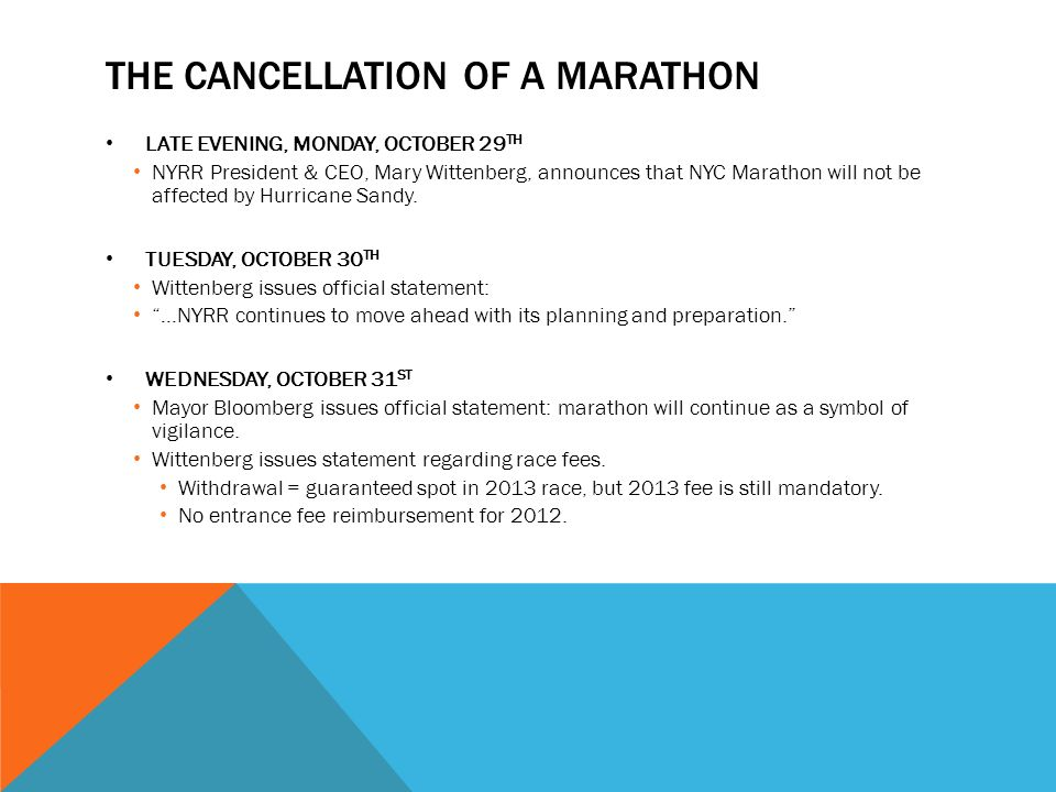 THE CANCELLATION OF A MARATHON LATE EVENING, MONDAY, OCTOBER 29 TH NYRR President & CEO, Mary Wittenberg, announces that NYC Marathon will not be affected by Hurricane Sandy.