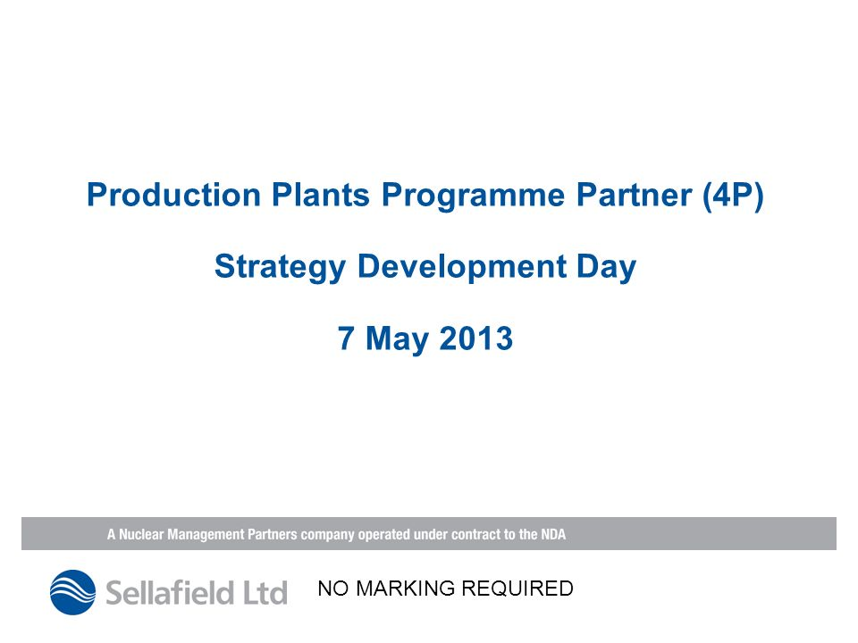 Production Plants Programme Partner (4P) Strategy Development Day 7 May 2013 NO MARKING REQUIRED