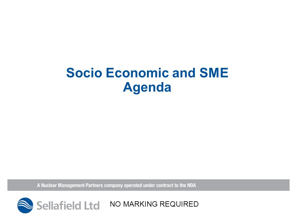 Socio Economic and SME Agenda NO MARKING REQUIRED