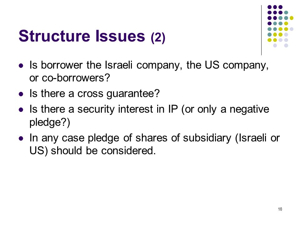 18 Structure Issues (2) Is borrower the Israeli company, the US company, or co-borrowers.