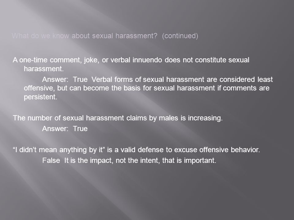 What do we know about sexual harassment.