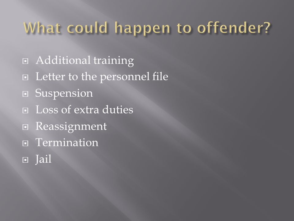 Additional training Letter to the personnel file Suspension Loss of extra duties Reassignment Termination Jail