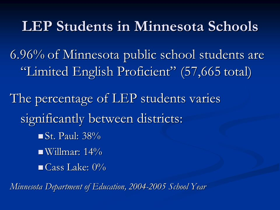 LEP Students in Minnesota Schools 6.96% of Minnesota public school students are Limited English Proficient (57,665 total) The percentage of LEP students varies significantly between districts: St.
