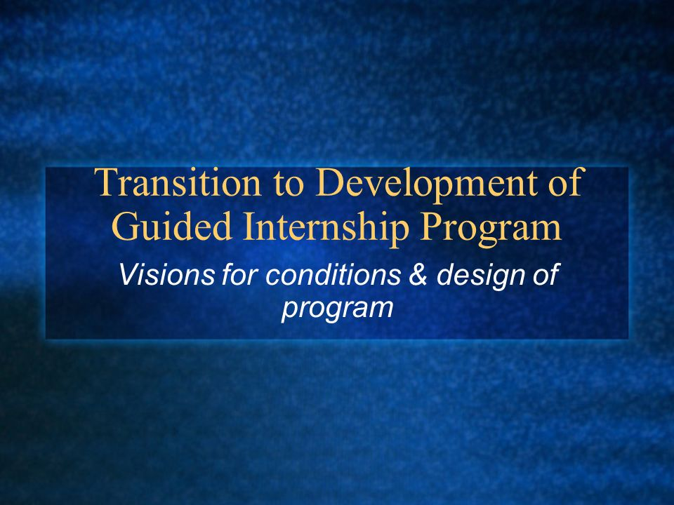 Transition to Development of Guided Internship Program Visions for conditions & design of program
