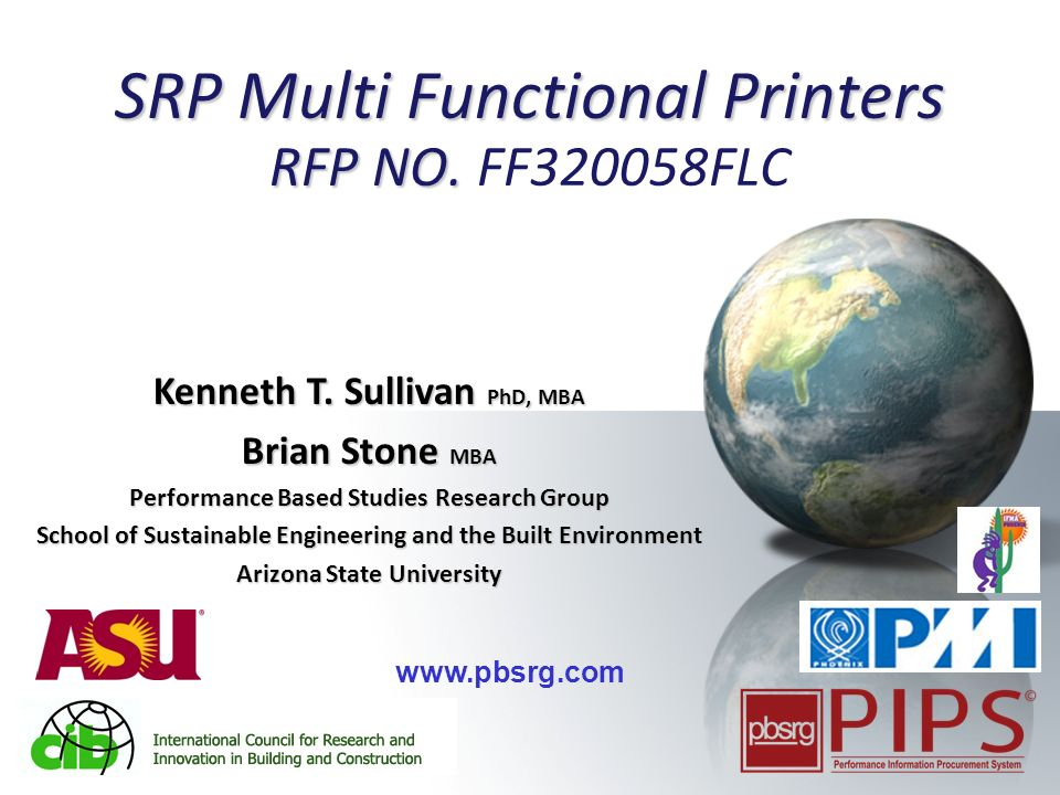 1 SRP Multi Functional Printers RFP NO. SRP Multi Functional Printers RFP NO.