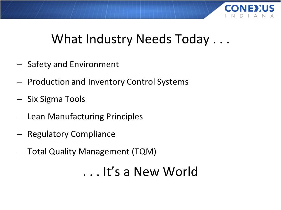 What Industry Needs Today...