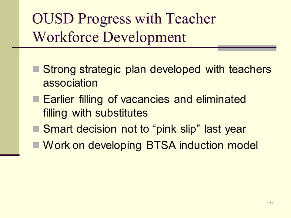 32 OUSD Progress with Teacher Workforce Development Strong strategic plan developed with teachers association Earlier filling of vacancies and eliminated filling with substitutes Smart decision not to pink slip last year Work on developing BTSA induction model