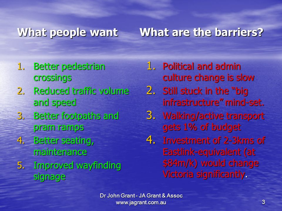 Dr John Grant - JA Grant & Assoc   What people want What are the barriers.