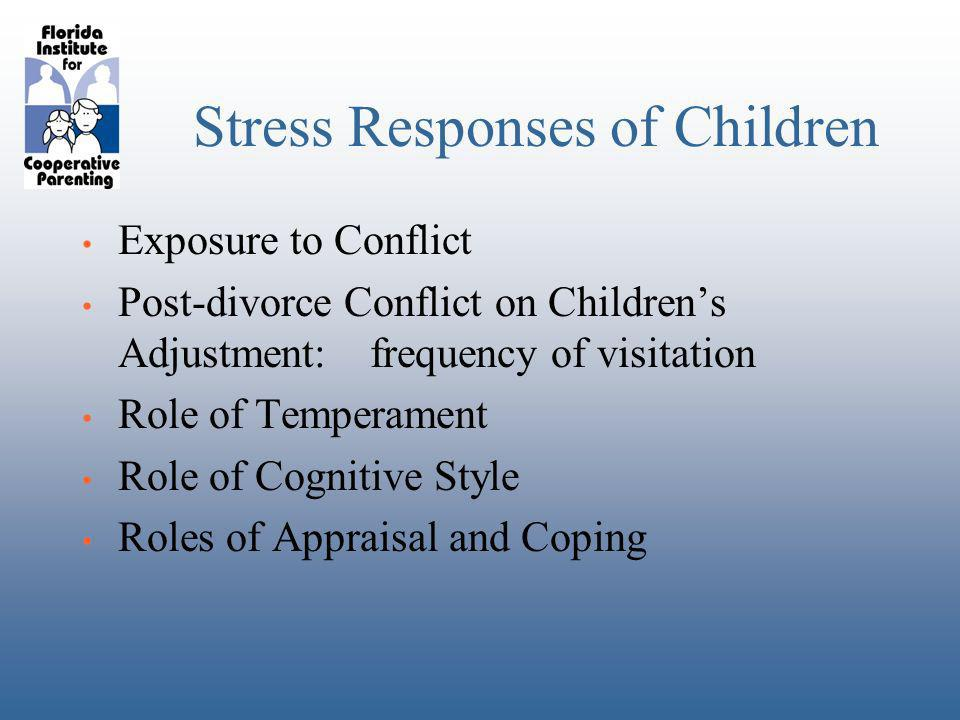 Stress Responses of Children Exposure to Conflict Post-divorce Conflict on Childrens Adjustment:frequency of visitation Role of Temperament Role of Cognitive Style Roles of Appraisal and Coping