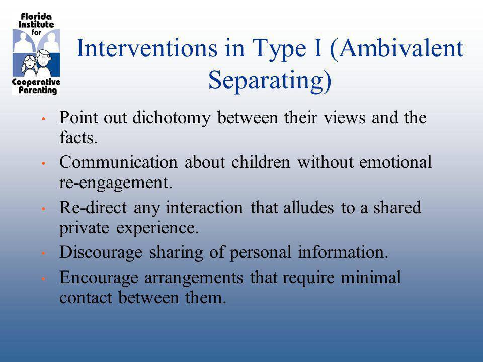 Interventions in Type I (Ambivalent Separating) Point out dichotomy between their views and the facts.