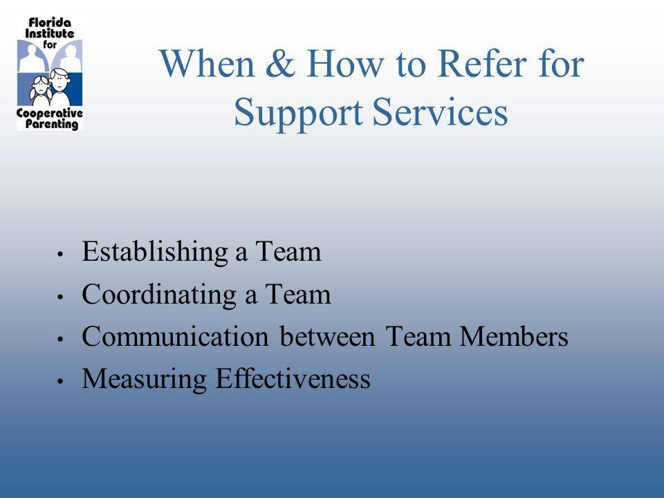 When & How to Refer for Support Services Establishing a Team Coordinating a Team Communication between Team Members Measuring Effectiveness