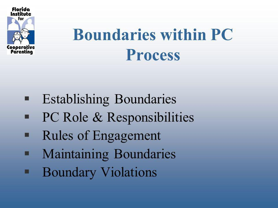 Boundaries within PC Process Establishing Boundaries PC Role & Responsibilities Rules of Engagement Maintaining Boundaries Boundary Violations