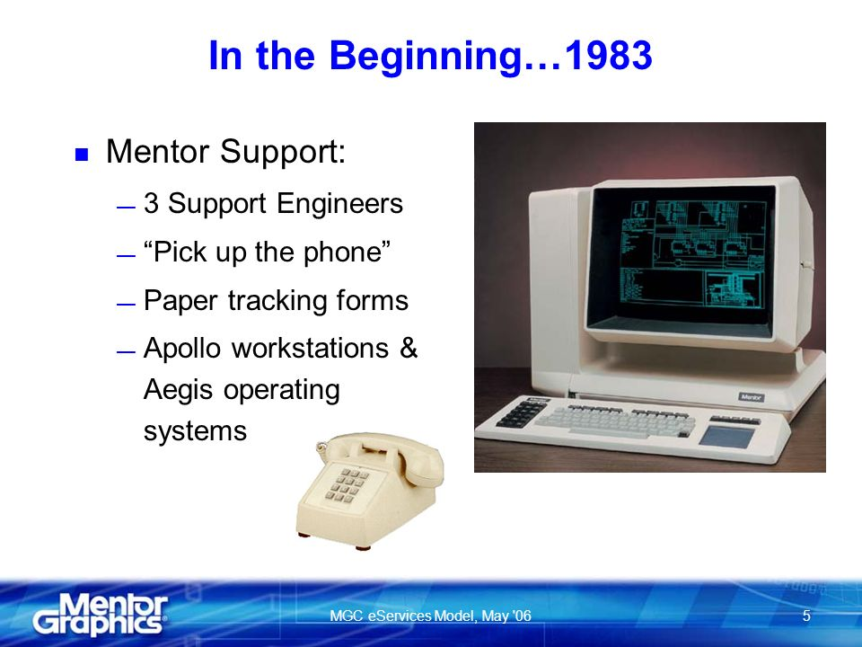MGC eServices Model, May 065 In the Beginning…1983 n Mentor Support: 3 Support Engineers Pick up the phone Paper tracking forms Apollo workstations & Aegis operating systems