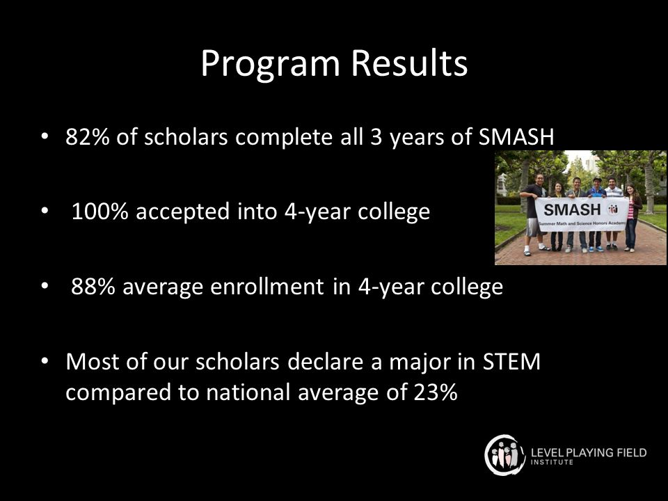 Program Results 82% of scholars complete all 3 years of SMASH 100% accepted into 4-year college 88% average enrollment in 4-year college Most of our scholars declare a major in STEM compared to national average of 23%
