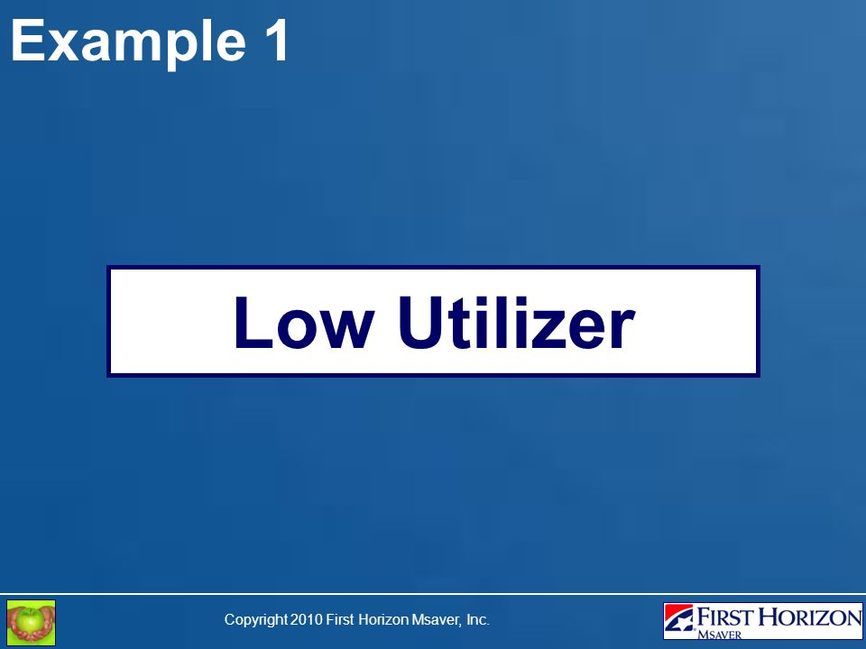 Copyright 2010 First Horizon Msaver, Inc. Example 1 Low Utilizer