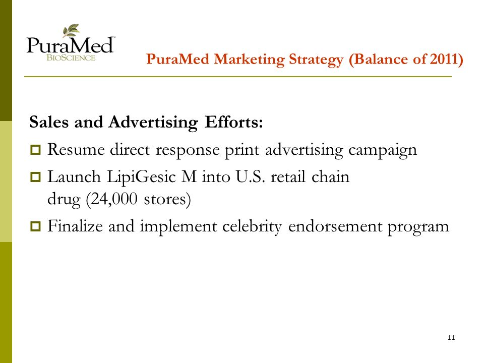 11 PuraMed Marketing Strategy (Balance of 2011) Sales and Advertising Efforts: Resume direct response print advertising campaign Launch LipiGesic M into U.S.