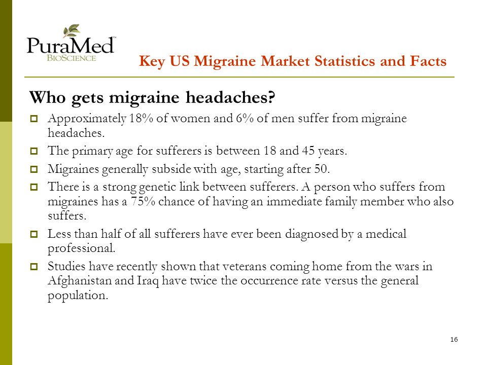 16 Key US Migraine Market Statistics and Facts Who gets migraine headaches.