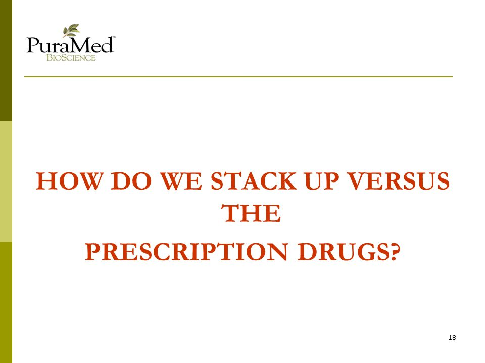 18 HOW DO WE STACK UP VERSUS THE PRESCRIPTION DRUGS