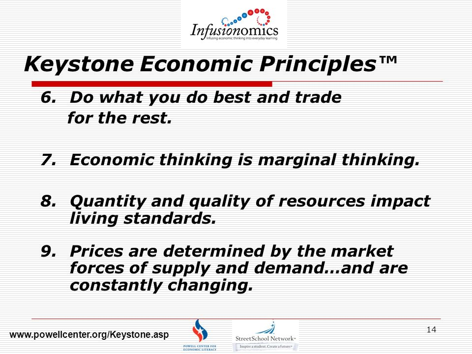 14 Keystone Economic Principles 6.Do what you do best and trade for the rest.