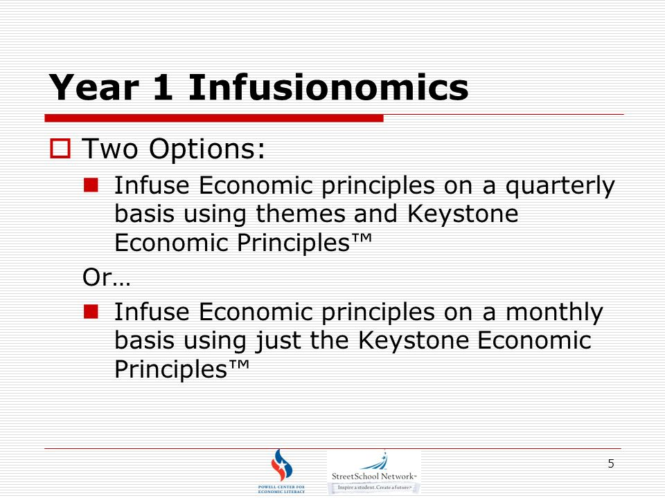 Year 1 Infusionomics Two Options: Infuse Economic principles on a quarterly basis using themes and Keystone Economic Principles Or… Infuse Economic principles on a monthly basis using just the Keystone Economic Principles 5