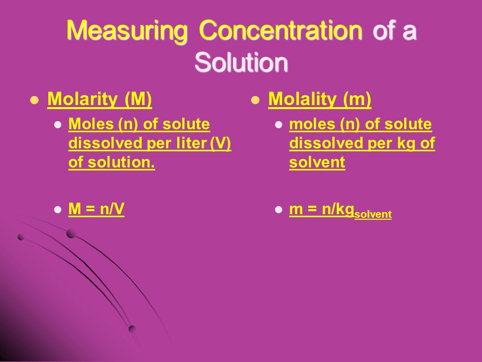 Measuring Concentration of a Solution Molarity (M) Moles (n) of solute dissolved per liter (V) of solution.