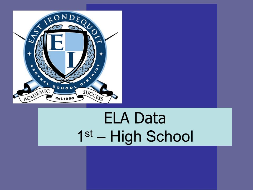 ELA Data 1 st – High School